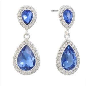 Monet Chandelier Earrings Blue and Silver tone